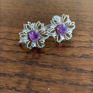 Vintage purple gold clip on earrings